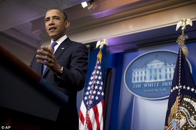 Disappointed: President Barack Obama, pictured, said he had tried to negotiate with Republicans but his efforts had been blocked