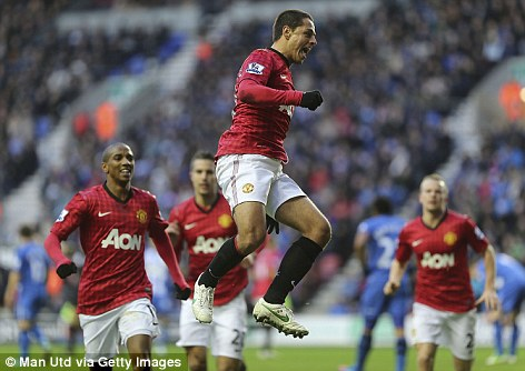 Brace: Hernandez scored either side of half-time at the DW Stadium