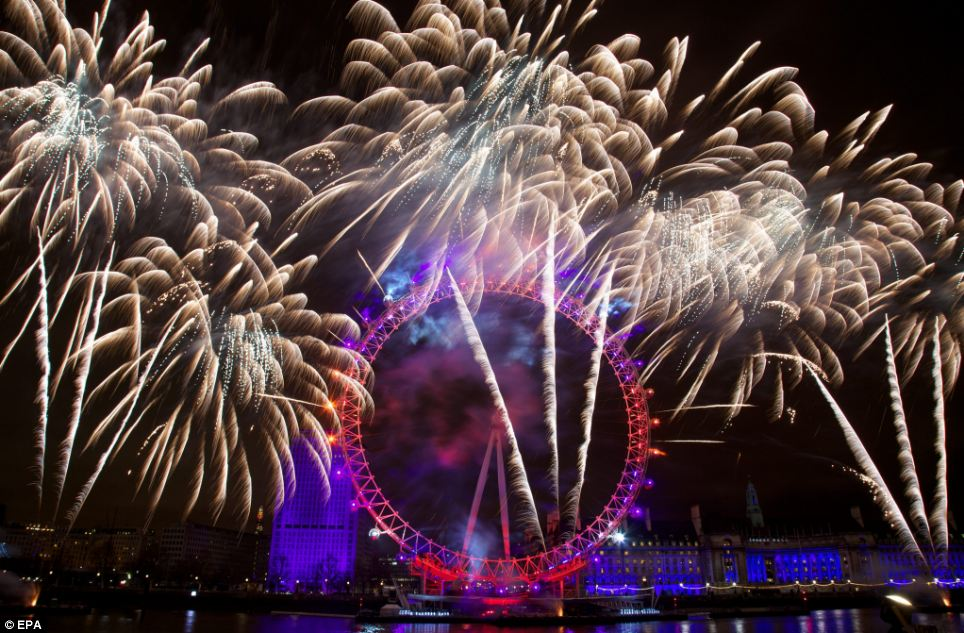 Magnificent: Fireworks over the iconic London Eye marking the coming of the New Year in Central London
