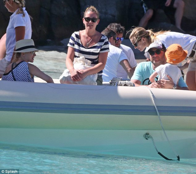 Taking a trip: The family also enjoyed a boat ride during their action-packed day