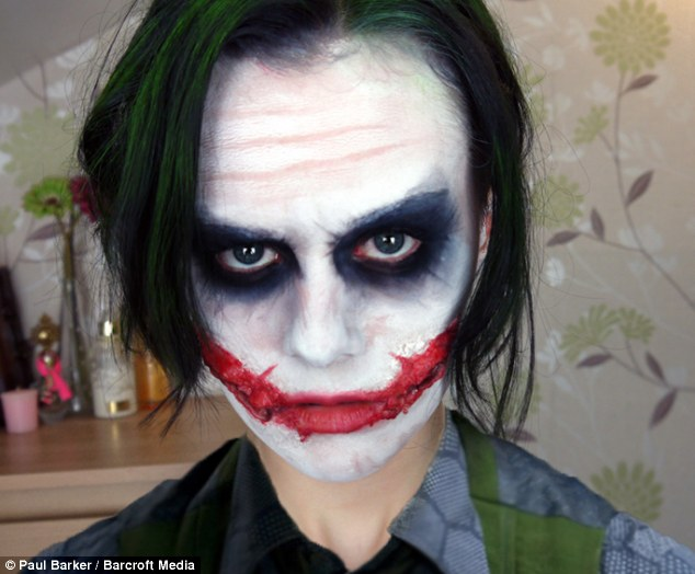 Why so serious: Inspired by Heath Ledger's makeup as the Joker in Batman, Emma used prosthetics to create the famous grin