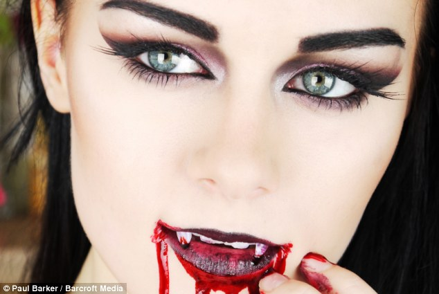 Vamped up: A beautiful vampire make-up fit for a Halloween party - despite Emma confessing she's never been to one