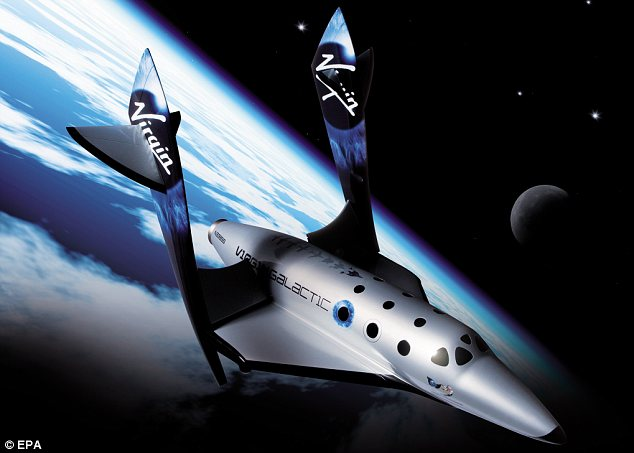 View: A mockup of SpaceShipTwo flying above the earth with its wings feathered. Hundreds of people have already paid deposits to ensure a place on the $200,000 flights when they eventually launch