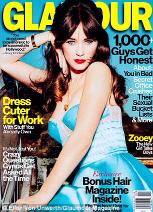 Cover girl: Zooey's Prabal Gurung dress matches her ice blue eyes on the cover
