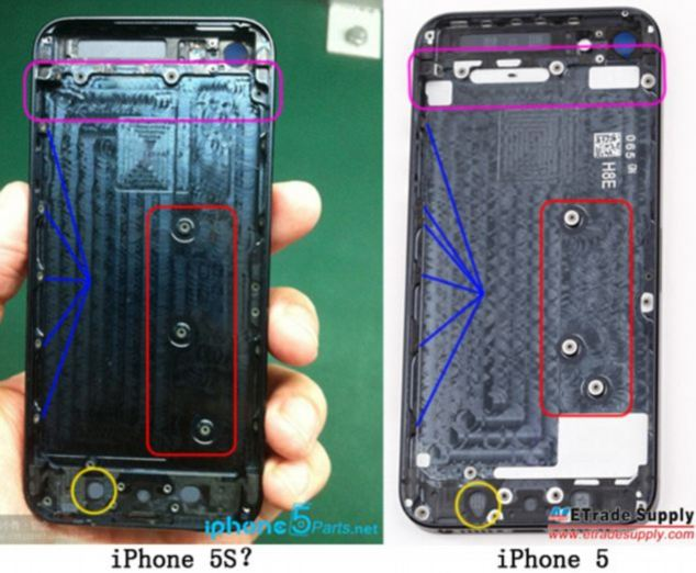 Pictures claiming to show the internals of a new iPhone 5S surfaced late last year on French website Nowhereelese.fr, with the differences in internal attachment points suggest an update to the latest Apple phone