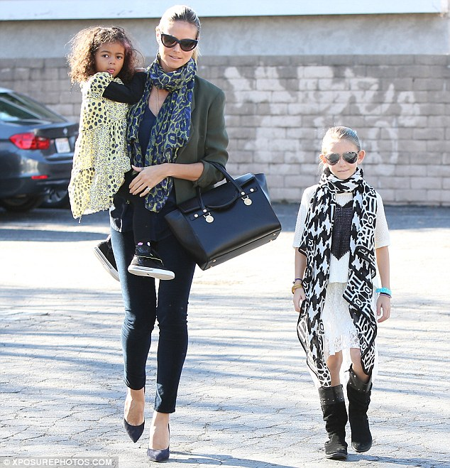 A sense of style runs in the family: Heidi, Leni and three-year-old Lou made for a stylish trio as they headed out for the day