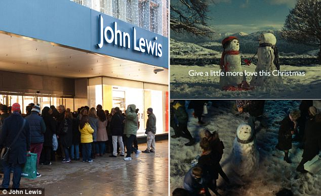 John Lewis: Its TV advert featuring a love-struck snowman helped push Christmas online sales up by 44 per cent and overall festive sales by 15 per cent