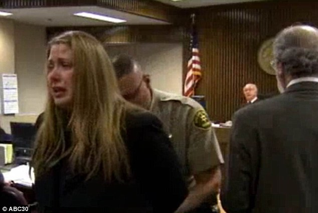 Emotional: Denman broke down in tears when the judge sentenced her to six months behind bars