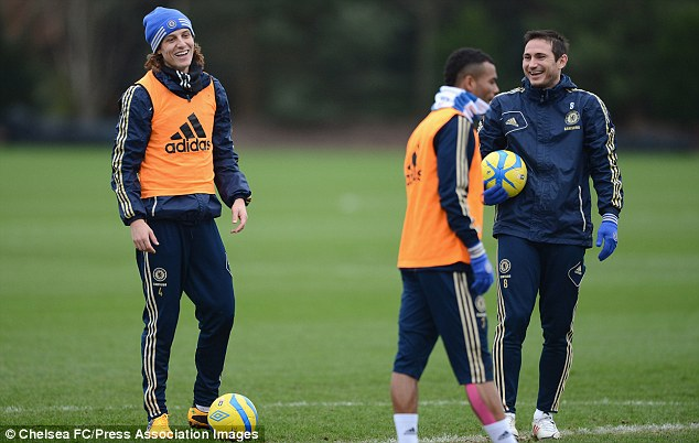 All smiles: Frank Lampard (right) will leave Chelsea in the summer when his contract expires