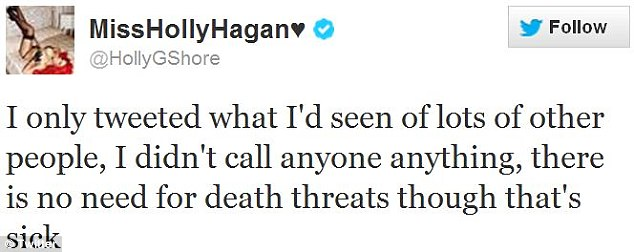 Twitter rampage: Holly defended her Twitter tirade on Thursday