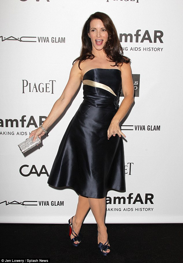 Stepping out: Kristin dressed up for a rare night out at the amfAR Inspiration Gala in Los Angeles on October 11