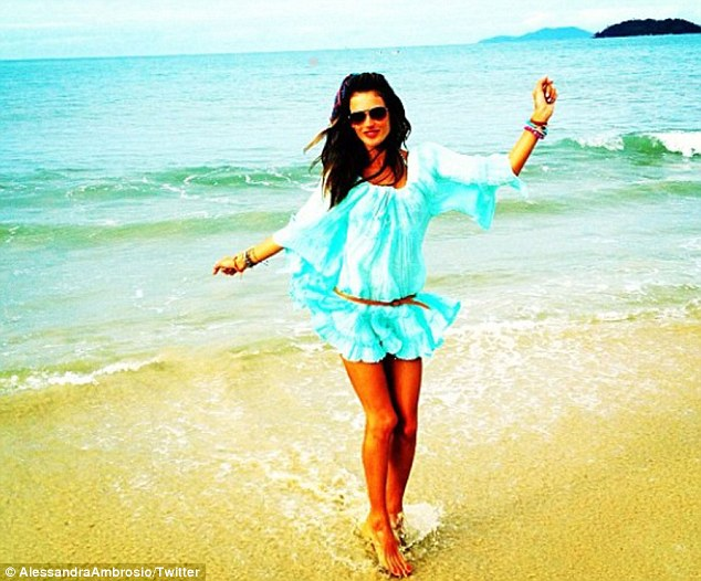 Dancing in the sun: She shared a snap of herself and the beautiful surroundings on Twitter