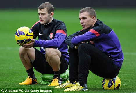 Sitting down on the job: Jack Wilshere and Lukas Podolski in training