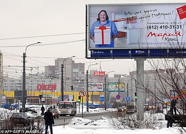 Russian appeal: Depardieu is well-known in Russia, where he is attached to a number of advertising campaigns