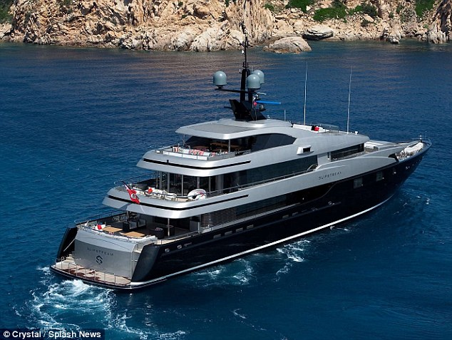 Moored near shore: The music mogul hires the pricey yacht for his three-week holiday every year
