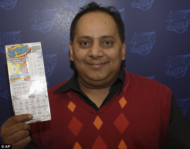 Hardworking: Khan emigrated to the U.S. from India during the 1980s and had opened a string of dry cleaning shops in his Chicago neighborhood. He bought this $1million scratch off winner just before his death