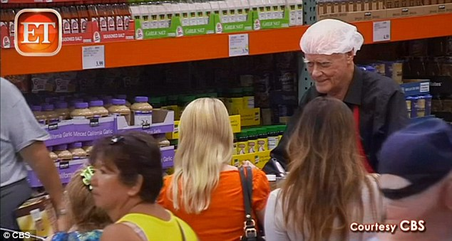 Hard to miss: Hagman, 81, managed to fool quite a few fans as he handed out samples of barbecue sauce