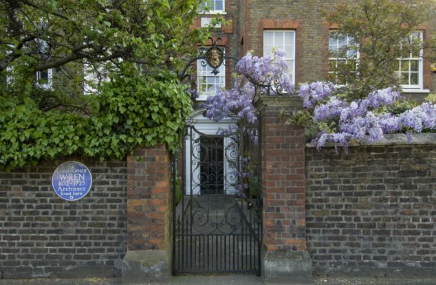 Historic hallmarks: An English Heritage blue plaque on the wall of a property where architect Christopher Wren once lived