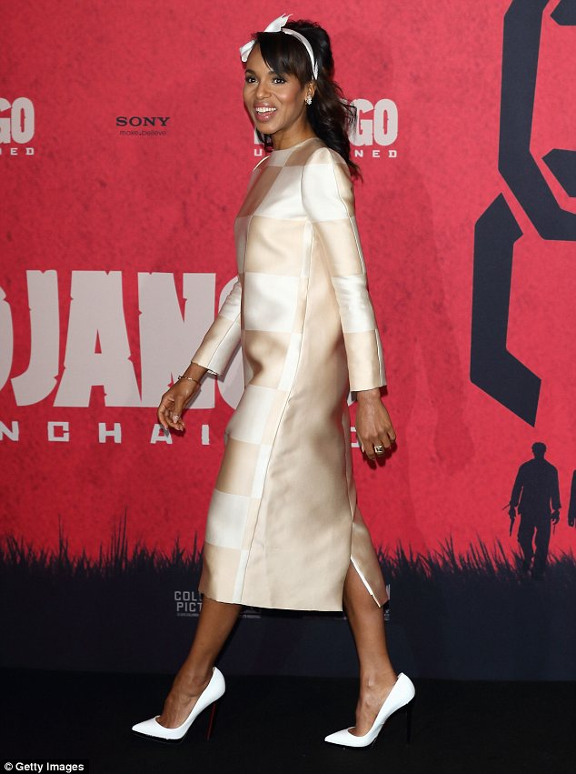 Shift-y: The 35-year-old actress wore a cream shift dress with a white checked square pattern and a pair of white stilettos