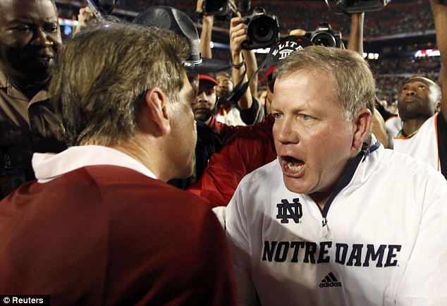 Alabama Crimson Tide head coach Nick Saban (left) is congratulated by Notre Dame Fighting Irish head coach Brian Kelly after the game