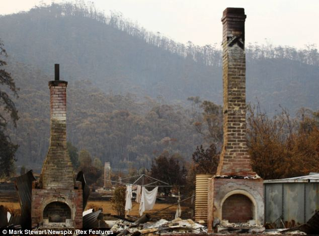 A home destroyed by fire in Dunalley, Tasmania