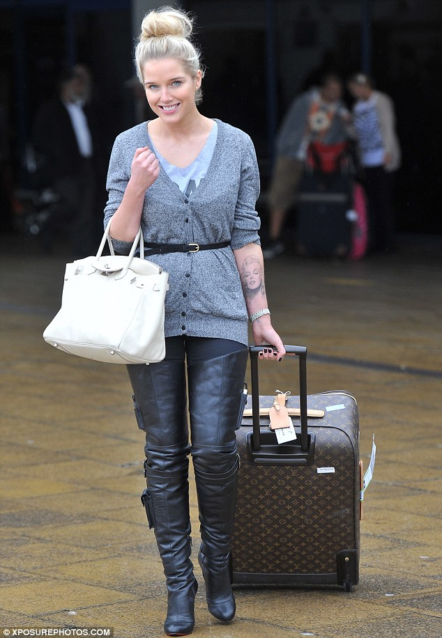 Flying visit: Helen at Manchester airport on Tuesday after returning from Dublin