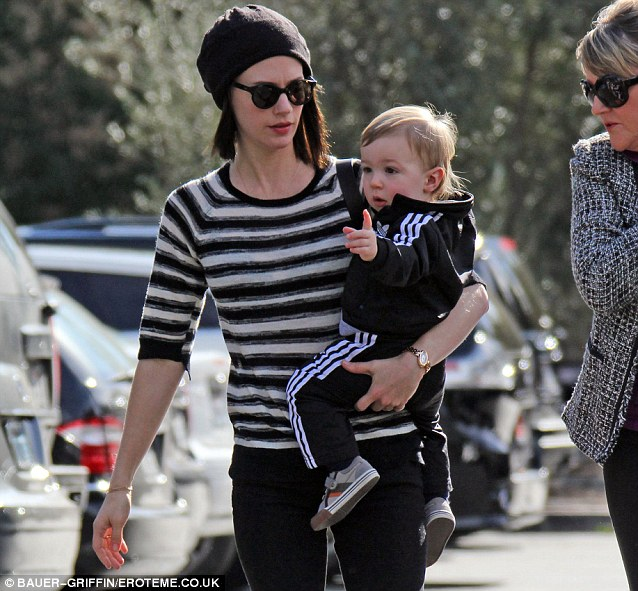 Love for lines: The actress and her one-year-old donned stripy attire