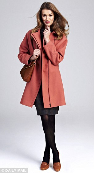 Dress, £69.99, zara.com, Coat, £275, reiss.com, Shoes, £99.50, bananarepublic.eu, Bag, £69.99, zara.com