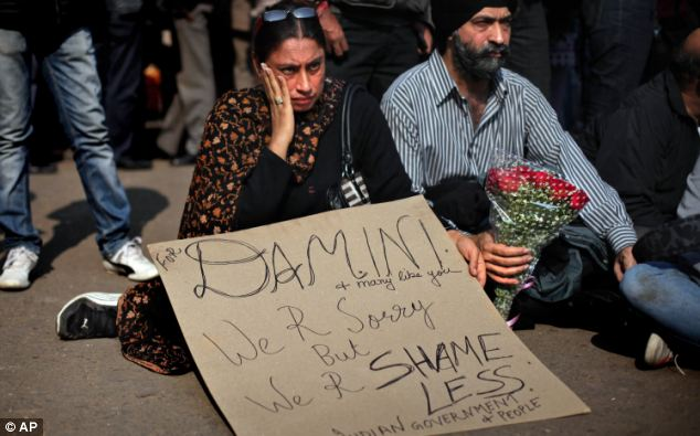 Anger: Protestors had given the victim the name Damini after a Bollywood film of the same name where the protagonist fought for justice after a rape ordeal