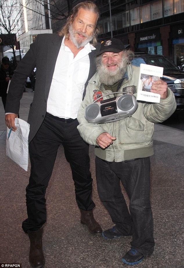 Doppelganger One: Jeff Bridges ran into his lookalike Radioman in New York on Tuesday