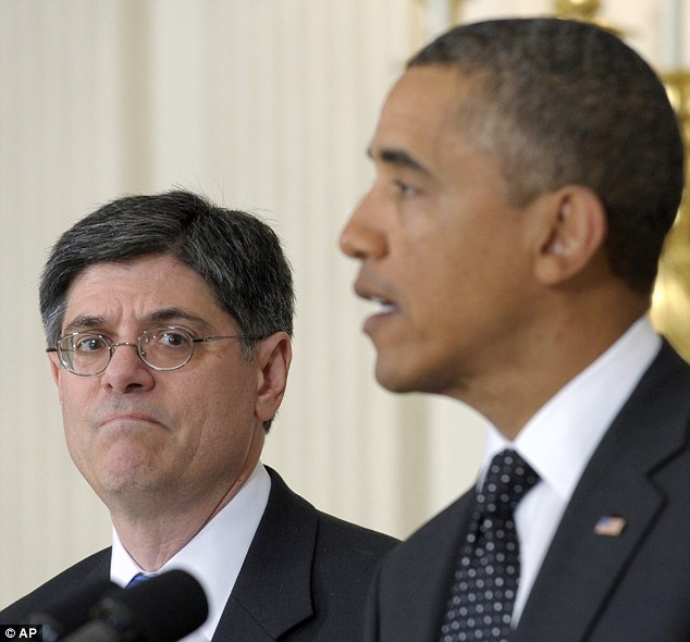 High stakes: Lew (pictured left) is positioned to take over the Treasury Department at a critical time when the U.S. is risks to default on its debt if Congress does not agree to raise its $16.4 trillion borrowing limit