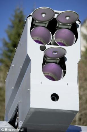 The 'eyes' of the laser weapon, which can track an object the size of a bullet, and hit a drone from two miles away