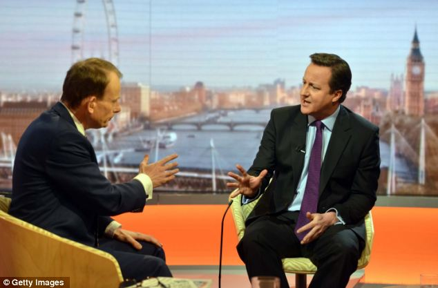 Famous face: Andrew Marr (left) interviewing the Prime Minister David Cameron (right) on January 6