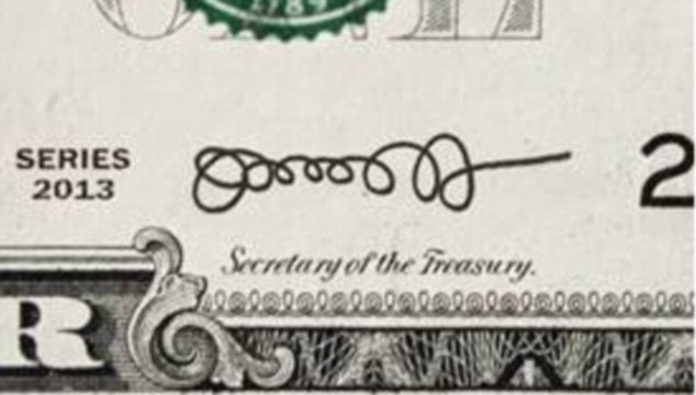 Money matters? If Lew kept the old signature, it would have looked like this on the dollar bill