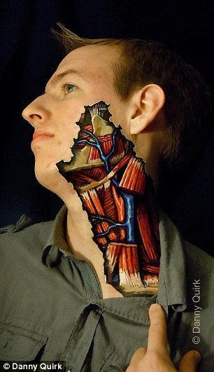 Body art: Using liquid latex and Sharpie markers, artist Danny Quirk exposes the human anatomy in a harmless and some could say beautiful way while using the human body as his pallet