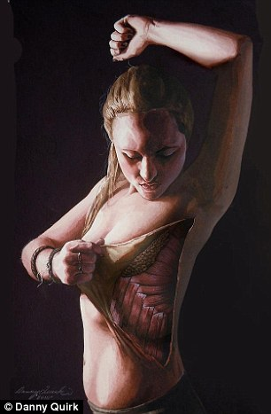 A woman coolly peels the skin away from her ribs