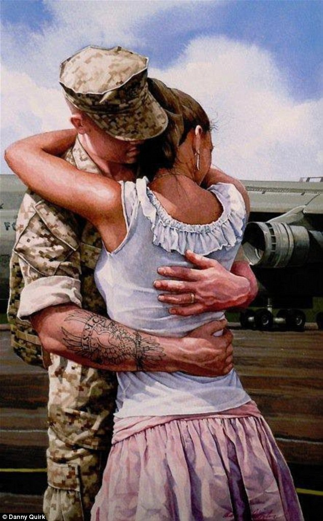 Other displays of intimacy: A U.S. solider in full uniform embraces a woman while leaving the viewer to only guess whether he's coming or going