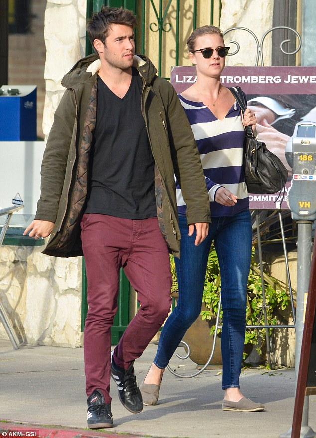 Casual couple: Both Emily, 26, and Josh, 24, opted for dressed down ensembles for their lunch date