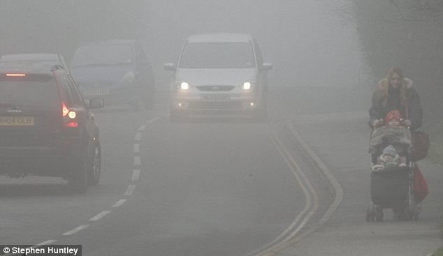 Winter: Fog descended in Danbury, Essex on Thursday ahead of snowy conditions expected this weekend