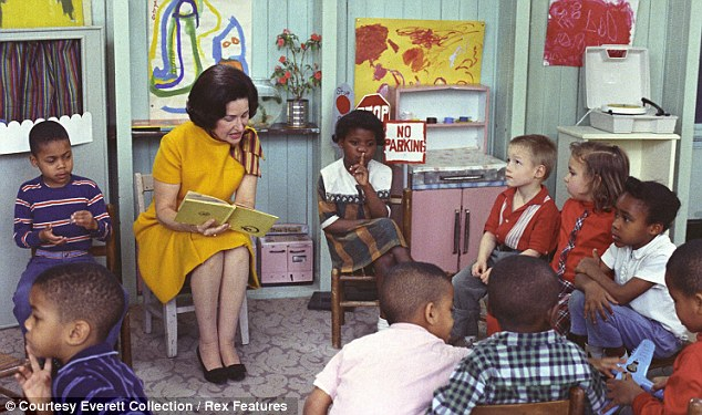 Humanitarian: Lady Bird Johnson visits a classroom for Project Head Start in Washington D.C.