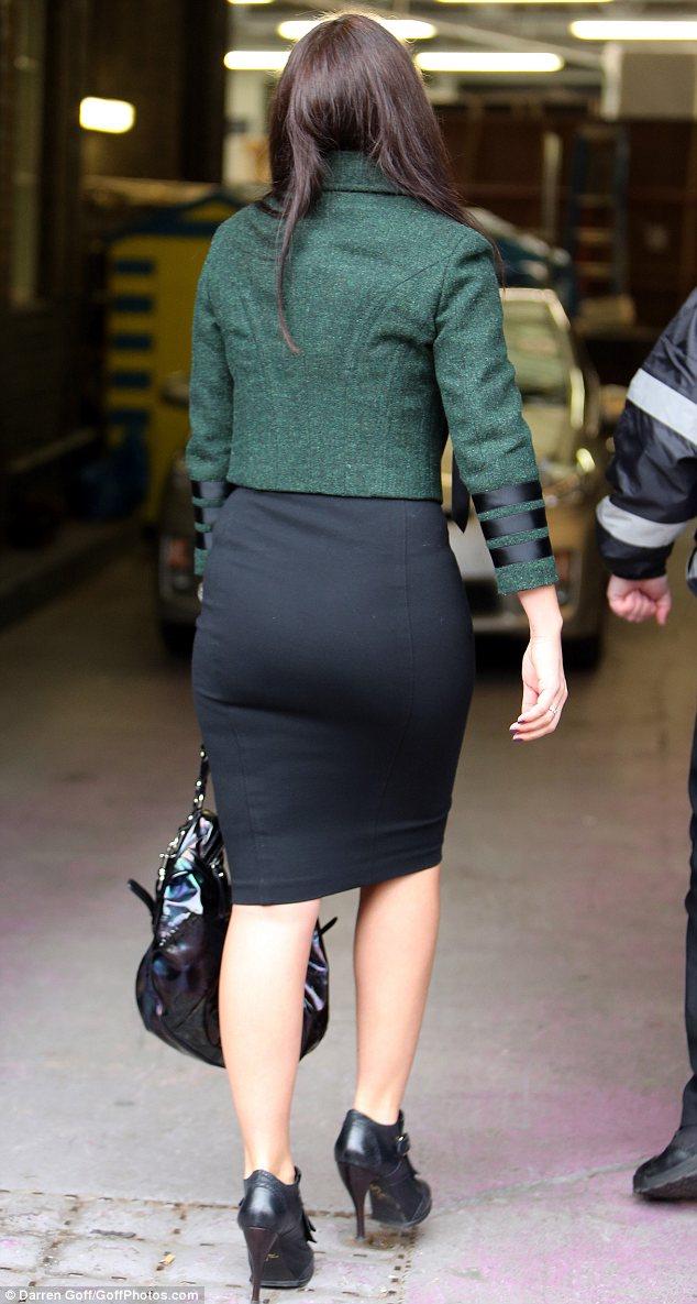 Trim: Davina cut a slim figure in the tight outfit