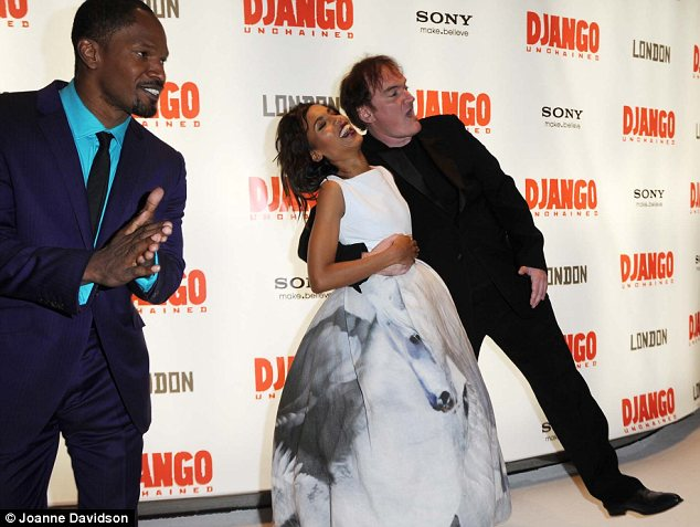 Having a joke: Kerry and Quentin were seen fooling around ahead of the screening