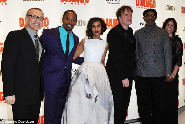 Group shot: Christoph Waltz, Jamie Foxx, Kerry Washington, Quentin Tarantino and Samuel L Jackson pose together at the London premiere of Django Unchained