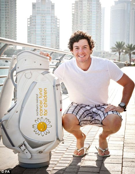 Charity work: Rory McIlroy in Dubai with the first bag of The 6 Bags Project