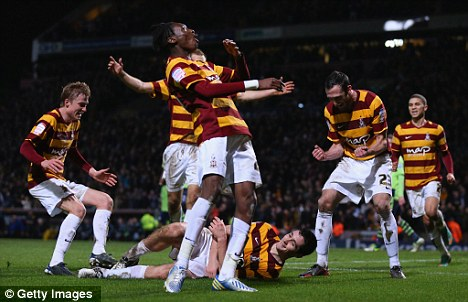 In the driving seat: Bradford are 3-1 up against Villa heading into the second leg