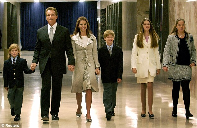 Schwarzenegger family: Arnold and Maria with their children (L-R) Christopher, Patrick, Katherine and Christina in 2003