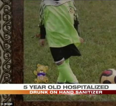 Nearly died: The Five-year-old girl (pictured with her identity disguised) was rushed to the hospital after getting drunk on hand sanitize