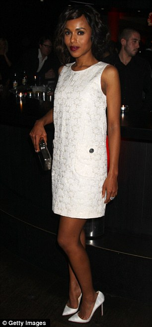 All white: Kerry slipped into a more practical but equally as stunning white shift dress for the after party