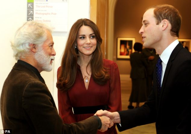Their muse: The Duchess introduces her husband to artist Paul Emsley after viewing his portrait at the National Portrait Gallery