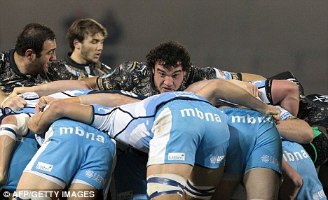 Big push: Montpellier hooker Agustin Creevy pushes in a scrum